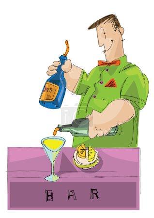 working barman - cartoon