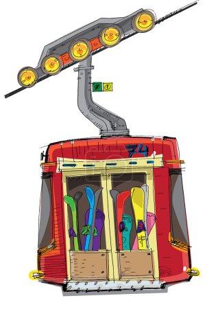funicular cabin - cartoon
