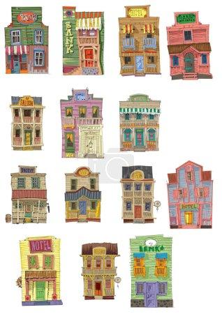 set of vintage american facades
