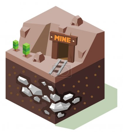 Stannary or Silver mine. Isometric art...