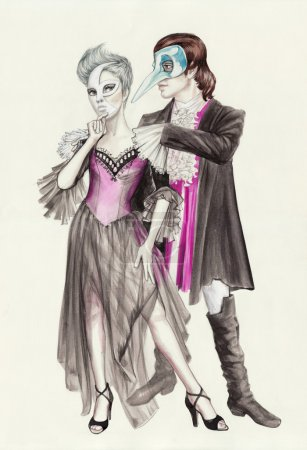 Photo pour Masquerade couple wearing fancy costumes and venetian masks. Original watercolor painting. - image libre de droit