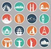 Set of icons   famous international landmarks