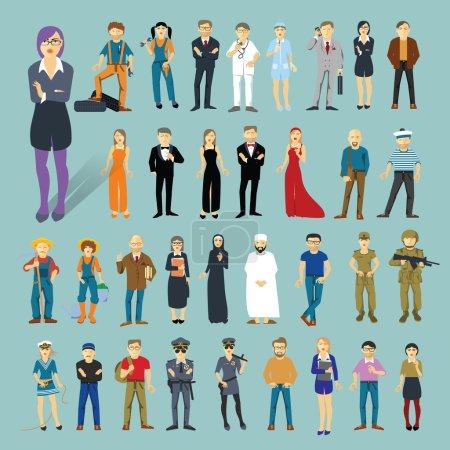 Photo pour Personnages et professions. 34 objets vectoriels design plat . - image libre de droit