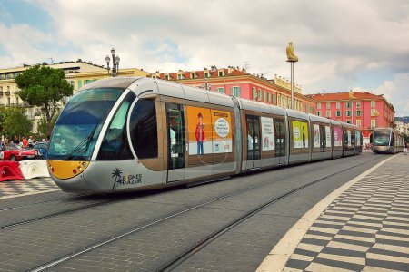 Tram on Place Massena in Nice, France.