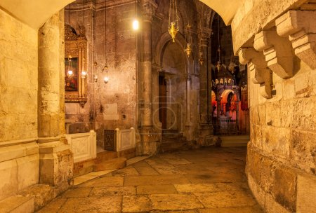 Stone corridor in the church.