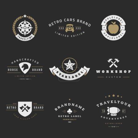 Illustration pour Ensemble vectoriel Rétro Logotypes. Éléments de conception graphique vintage pour logos, identité, étiquettes, badges, rubans, flèches et autres objets - image libre de droit