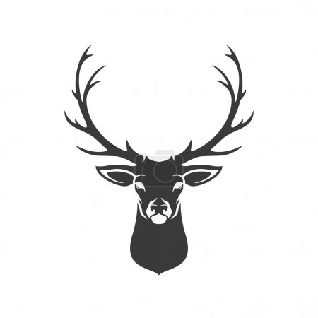 Illustration for Deer Head Silhouette Isolated On White Background Vector object for Labels, Badges, Logos  and other Design - Royalty Free Image