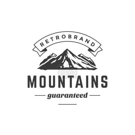 Illustration pour Modèle de logo vintage de montagne Emblème. Silhouette High Rock. Étiquette ou insigne pour la publicité, l'équipement d'aventure et tout autre design. Illustration vectorielle de style rétro - image libre de droit