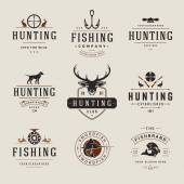 Set of Hunting and Fishing Labels Badges Logos Vector Design Elements Vintage Style