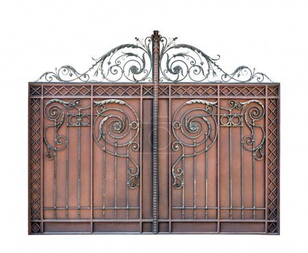 Photo for Modern steel decorative  gates.  Isolated over white background. - Royalty Free Image
