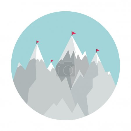 Flat Style Icon with Mountains