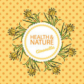 Health and Nature Collection  Badge template with a herb on spotted seamless background Citronella - Cymbopogon citratus