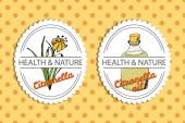 Health and Nature Collection Badge templates with a herb and bottle with oil on spotted seamless background Citronella - Cymbopogon citratus
