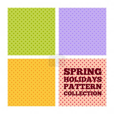 Illustration for Collection of seamless patterns for spring holidays - St. Patricks Day, April Fools Day, Easter, Mothers day - Royalty Free Image