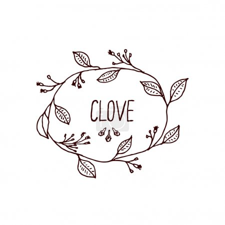 Illustration for Herbs and Spices Collection - Clove. Handdrawn Wreath. Suitable for ads, signboards, packaging and identity designs - Royalty Free Image