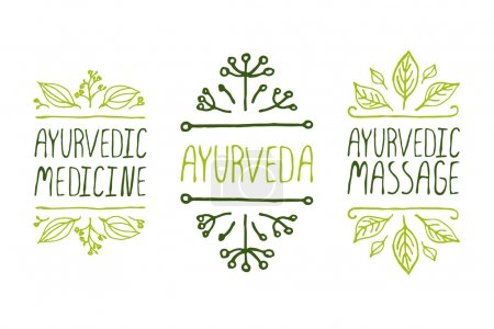 Illustration for Hand-sketched typographic elements. Ayurveda product labels. Suitable for ads, signboards, packaging and identity and web designs. Ayurvedic medicine, Aurveda, Ayurvedic massage - Royalty Free Image