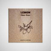 Herbs and Spices Collection - Lemon  Hand-sketched herbal element on cardboard background Suitable for ads signboards packaging and identity designs