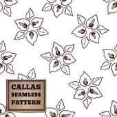 Seamless pattern with bouquet of callas and cardboard label