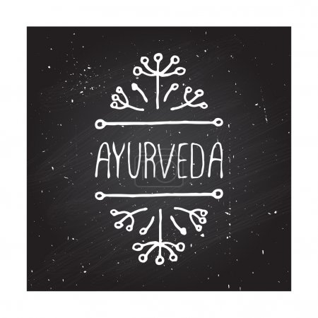 Illustration for Hand-sketched typographic element. Ayurveda product label. Suitable for ads, signboards, packaging and identity and web designs. Ayurveda - Royalty Free Image