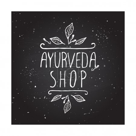 Illustration for Hand-sketched typographic element. Ayurveda product label.  Suitable for ads, signboards, packaging and identity and web designs.  Ayurveda shop - Royalty Free Image