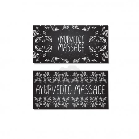 Illustration for Ayurvedic massage. Hand-sketched cards with herbal elements on chalkboard background - Royalty Free Image