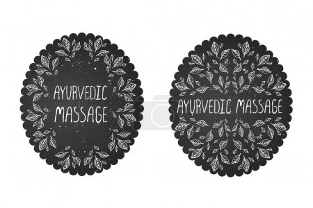 Illustration for Hand-sketched herbal labels on chalkboard background.  Ayurvedic massage - Royalty Free Image