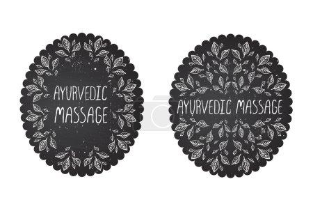 Illustration for Hand-sketched herbal labels on chalkboard background.  Ayurvedic massage - Royalty Free Image