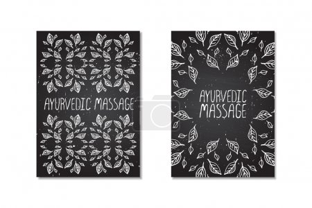 Illustration for Hand-sketched posters on chalkboard background.  Ayurvedic massage - Royalty Free Image