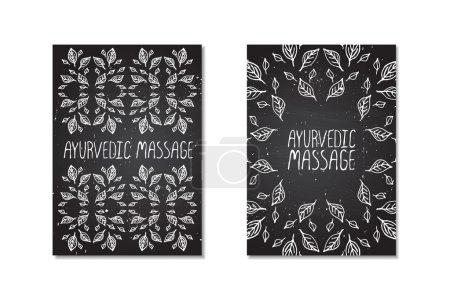 Illustration for Hand-sketched posters on chalkboard background.  Ayurvedic massage - Royalty Free Image