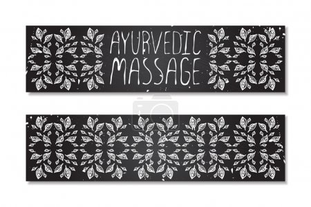 Illustration for Hand-sketched herbal banners on chalkboard background.  Ayurvedic massage - Royalty Free Image