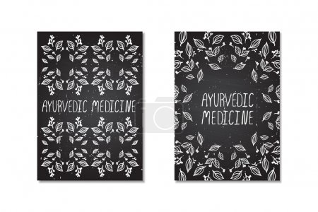 Illustration for Ayurvedic medicine. Hand-sketched posters on chalkboard background - Royalty Free Image