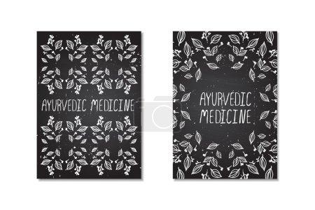 Illustration for Ayurvedic medicine. Hand-sketched posters on chalkboard background - Royalty Free Image