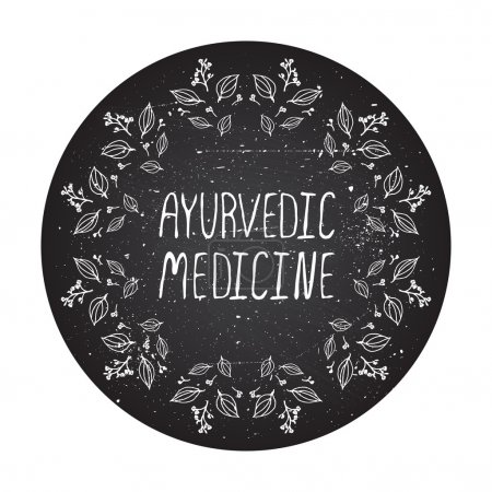 Illustration for Ayurvedic medicine. Hand-sketched herbal frame element on chalkboard background - Royalty Free Image
