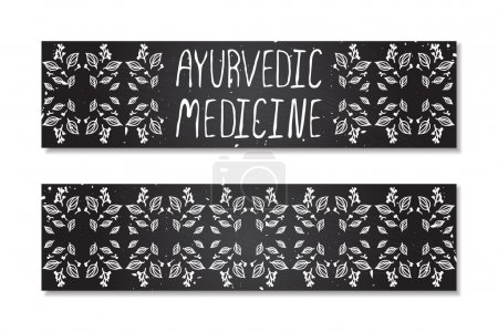 Illustration for Hand-sketched herbal banners on chalkboard background.  Ayurvedic medicine - Royalty Free Image