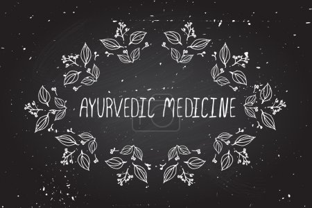 Illustration for Hand-sketched frame on chalkboard background. Ayurvedic medicine - Royalty Free Image
