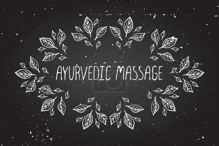Illustration for Hand-sketched frame on chalkboard background. Ayurvedic massage - Royalty Free Image