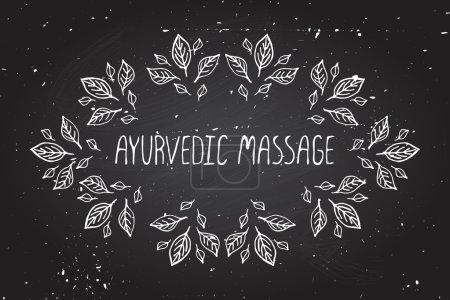 Illustration for Hand-sketched frame on chalkboard background. Ayurvedic massage - Royalty Free Image