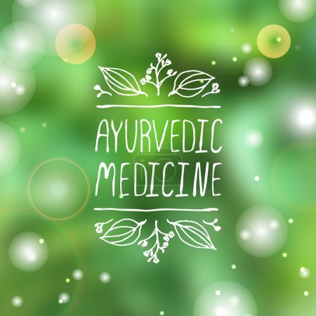 Illustration for Hand-sketched typographic element. Ayurveda product label. Suitable for ads, signboards, packaging and identity and web designs. Ayurvedic medicine - Royalty Free Image