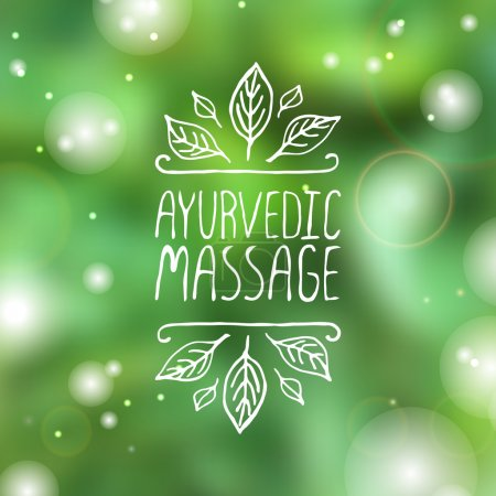 Illustration for Hand-sketched typographic element. Ayurveda product label.  Suitable for ads, signboards, packaging and identity and web designs.  Ayurvedic massage - Royalty Free Image