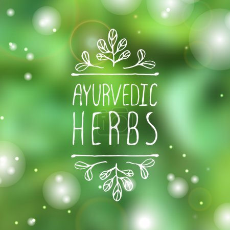 Illustration for Hand-sketched typographic element. Ayurveda product label.  Suitable for ads, signboards, packaging and identity and web designs.  Ayurvedic herbs - Royalty Free Image