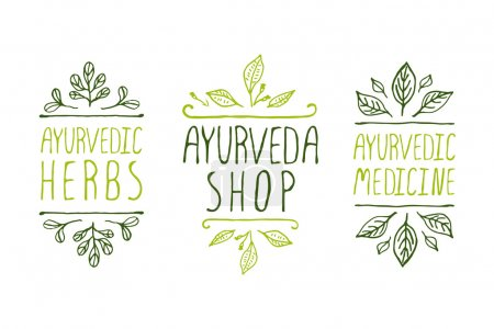 Illustration for Hand-sketched typographic elements. Ayurveda product labels. Suitable for ads, signboards, packaging and identity and web designs. Ayurvedic medicine, Ayurveda shop, Ayurvedic herbs - Royalty Free Image