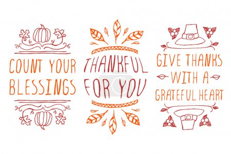 Illustration for Thanksgiving elements. Hand-sketched typographic elements on white background. Count your blessings. Thankful for you. Give thanks with a grateful heart - Royalty Free Image