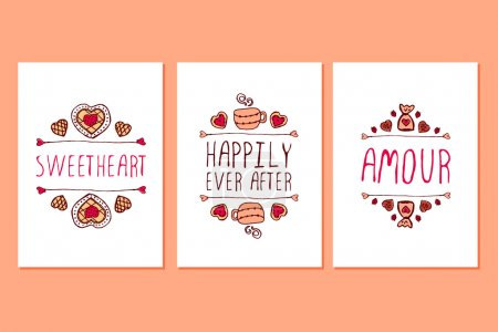 Set of Saint Valentines day hand drawn greeting cards.