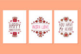 Set of Saint Valentines day hand drawn greeting cards