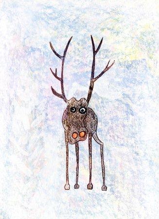Photo pour Des enfants dessinent un cerf solitaire. Crayon et stylo marqueur sur pape - image libre de droit