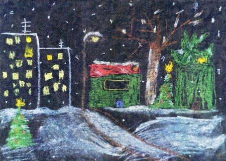 """Photo pour """"Ville nocturne """". Oeuvre d'un enfant de six ans. Peint en crayons et stylo marqueur - image libre de droit"""