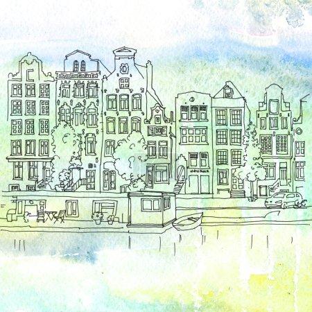 Photo pour Illustration en aquarelle d'une maison et de canaux typiques d'Amsterdam, Pays-Bas - image libre de droit