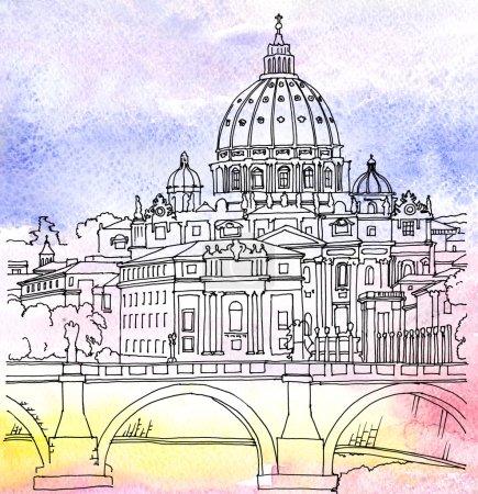 Photo pour Illustration aquarelle du Dôme de la Basilique Saint-Pierre à Rome, Italie - image libre de droit