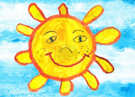 Photo for Funny sun over blue sky. Artistic watercolor style image was hand drawn by a six years old chil - Royalty Free Image