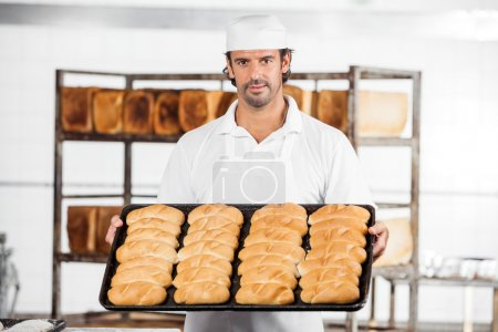 Photo for Portrait of confident male baker showing breads in baking tray at bakery - Royalty Free Image